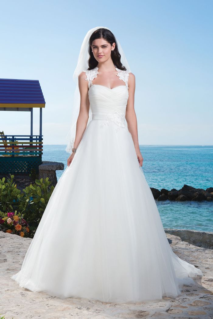 Sincerity Bridal Style 3773 Tulle ball gown complemented by a Queen Anne neckline