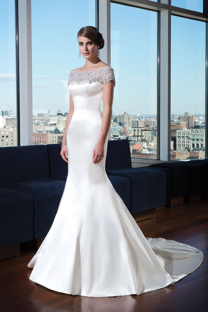 Justin Alexander Signature Style 9735 Silk Cotton Bridal Gown with Beaded Cap Sleeves