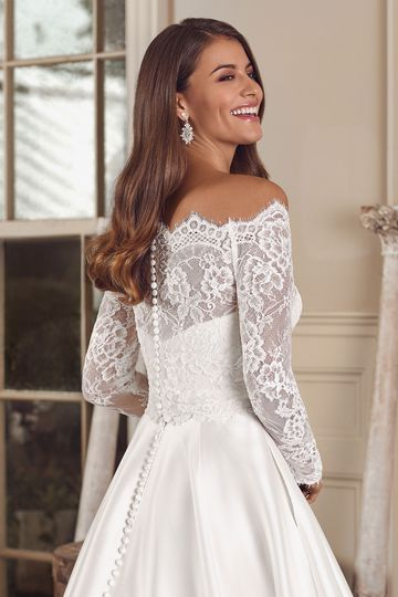 Justin Alexander Style 88144J Adela Jacket Off the Shoulder Long Sleeve Allover Lace Jacket
