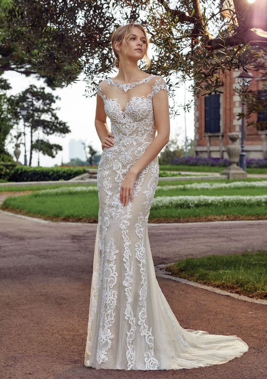 Sincerity Bridal Style 44136 Illusion Sabrina Fit and Flare Gown with Venice Appliques
