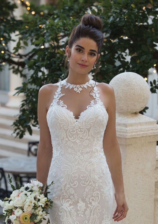 Sincerity style 44099 Jewel Illusion Collared Gown with Embroidered Lace