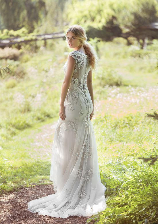Lillian West Style 6498 Beaded Floral Embroidered Gown with Illusion Back