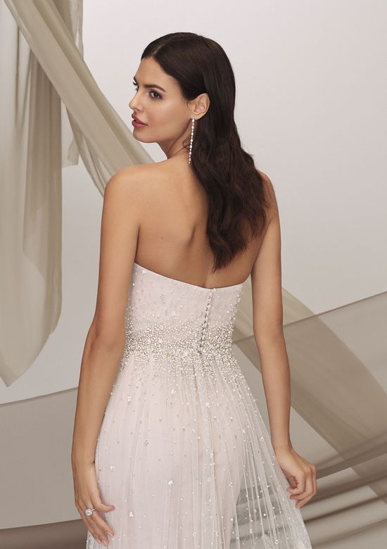 Justin Alexander Signature Style 99125 CONDESA Strapless Slim A-Line Dress with Beaded Cage Skirt