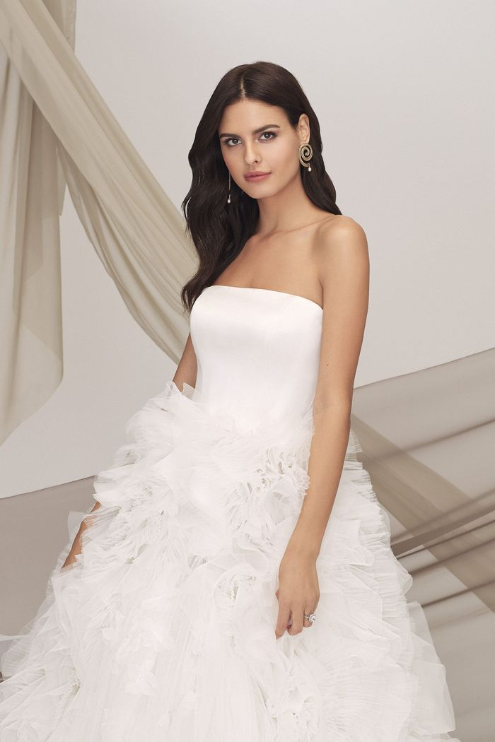 Justin Alexander Signature Style 99121 BUGAMBILIA Satin Bodice Gown with Pleated Tulle Skirt and Floating Flowers