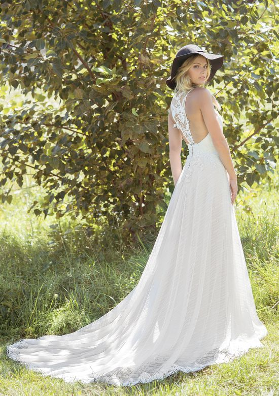 Lillian West Style 6487 Geometric Lace A-Line Gown with Sweetheart Neckline and Racerback