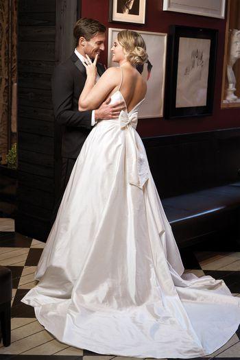 Justin Alexander Style 8927 Silk Dupion A-Line with Deep V-Back Neckline Iskra Lawrence