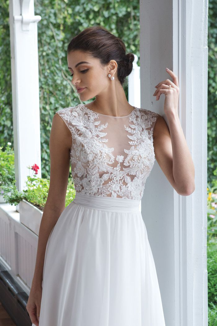 Sweetheart style 11052 Illusion Sabrina Beaded Bodice with Chiffon A-line Skirt