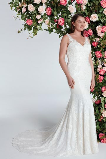 Sweetheart Gowns Style 11075 Fit and Flare Gown with Chantilly Lace and Beaded Appliques