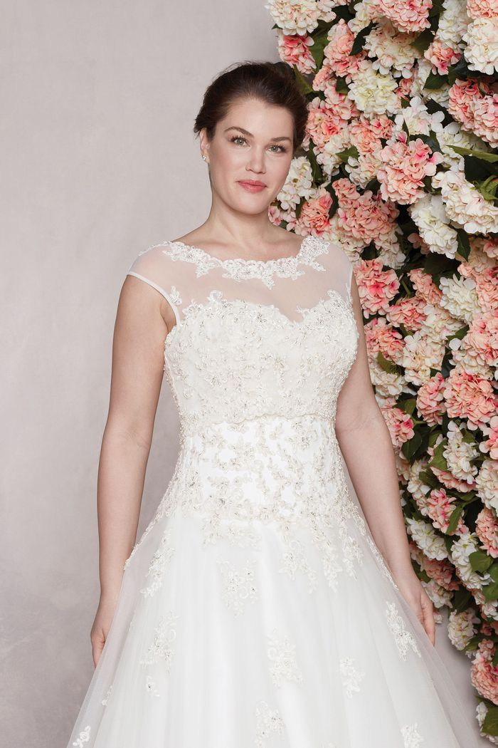 Sincerity Style 3771 | Beaded Lace Ball Gown with Sabrina Neckline Plus Size