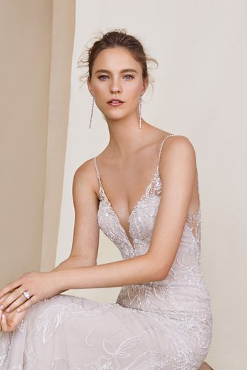 Justin Alexander Signature style 99063 Jackson Beaded Fit and Flare Dress with Detachable Train