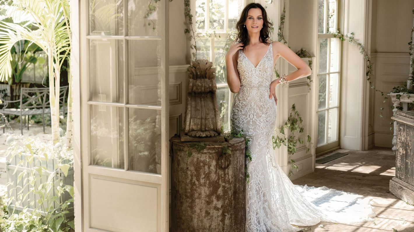 - Style 9872: Stretch Fit and Flare Gown with Sheer V-Neck and V-Back
