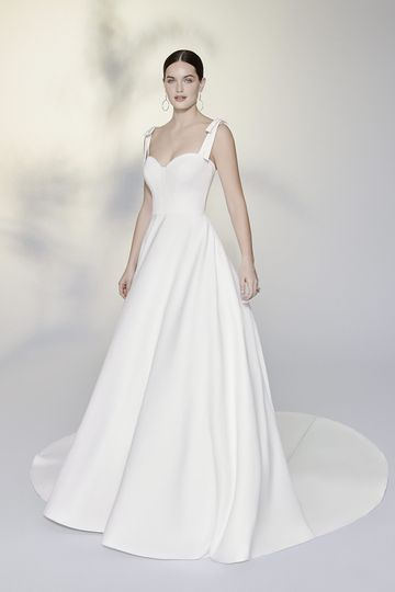 Justin Alexander Signature Style 99195 Wright Luxe Satin Ball Gown Accented with Detachable Shoulder Bows