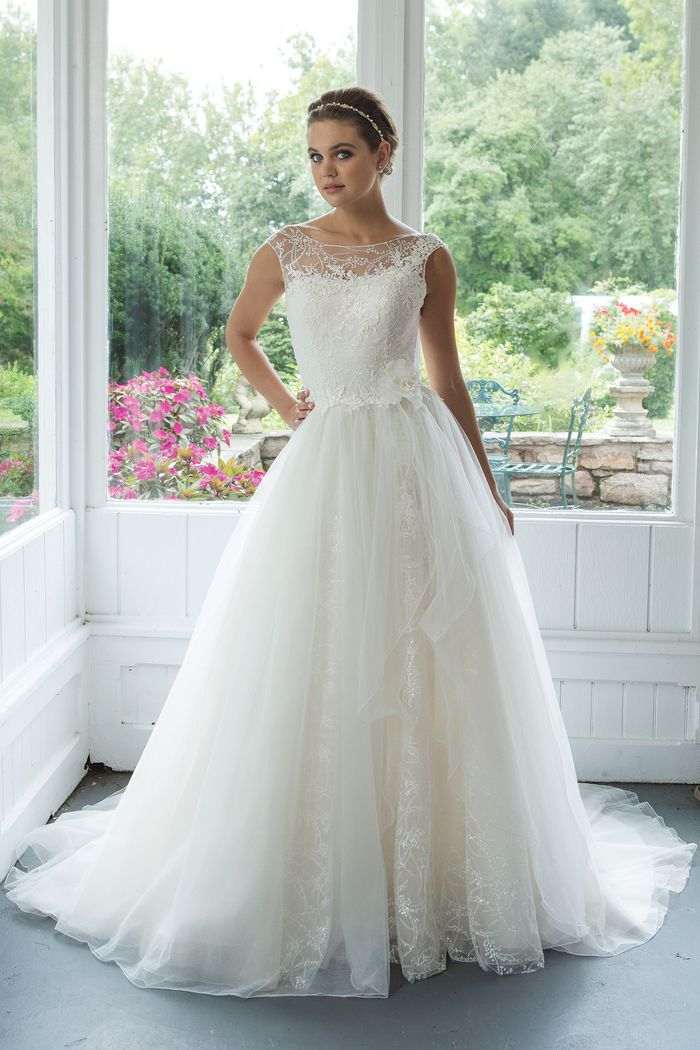 Sweetheart style 11071 A-line Illusion Sabrina Sequined Neckline with Venice Lace Gown