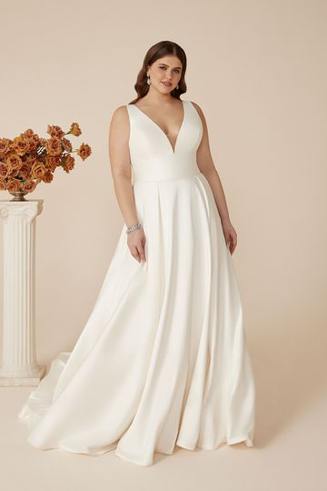Justin Alexander Style 88146PS April Plus Size Stretch Mikado A-Line Dress with Pockets