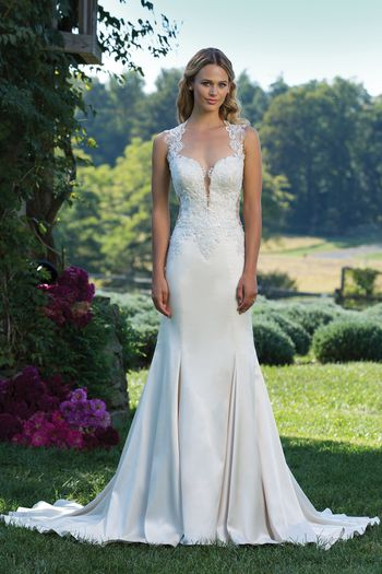 Sincerity Bridal Style 3921 Plunging Neck and Illusion Back Lace Applique Gown