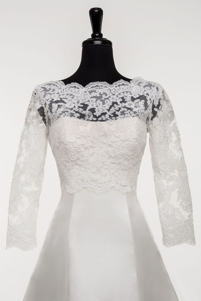 Style A097 Illusion Jacket with Embroidered Lace Appliques