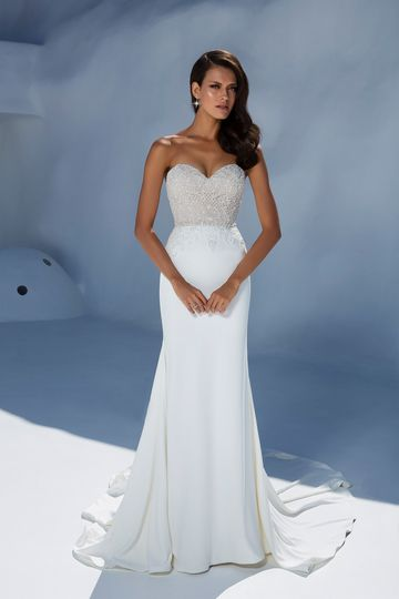 Justin Alexander Style 88004 Beaded Bodice with Crepe Fit and Flare Skirt