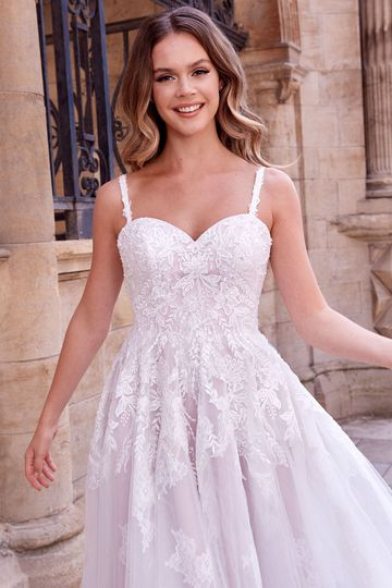 Adore by Justin Alexander Style 11184 Jovanna Tulle Knee Length Wedding Dress with Beaded Lace Appliqués