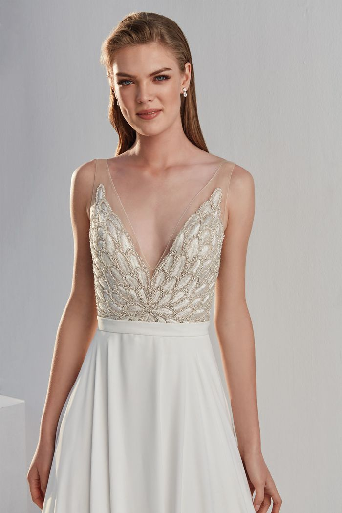 Justin Alexander Style 88074 Beaded Illusion V-Neckline Bodice with A-Line Chiffon Skirt