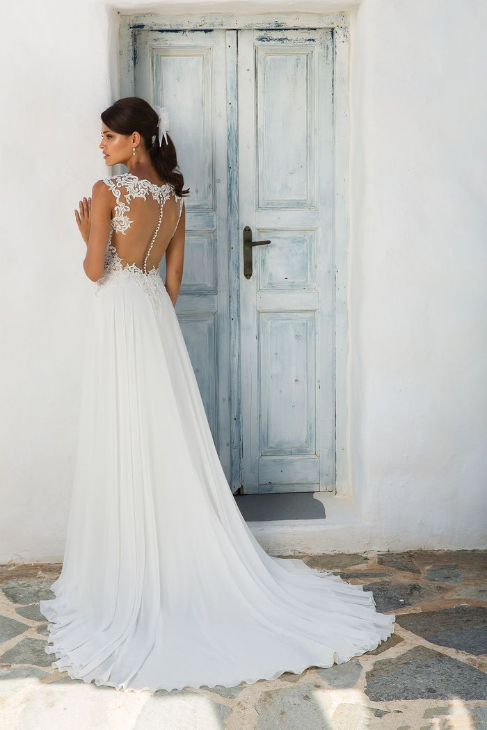 Justin Alexander Style 8942 Lace and Chiffon A-Line Gown with Illusion Sabrina Neckline
