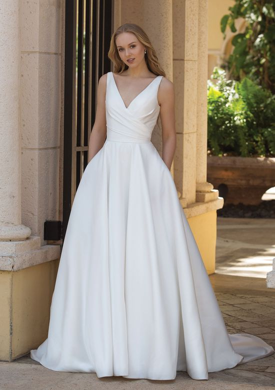Style 44080 Asymmetric Draped Ball Gown With Pockets Sincerity