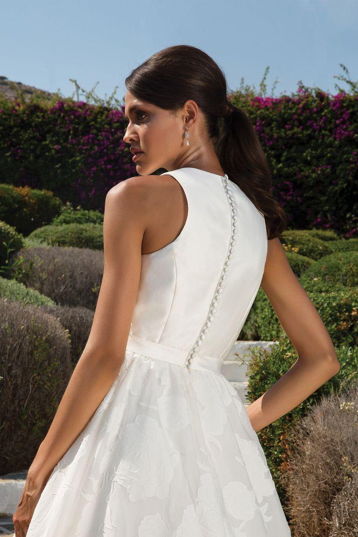 Justin Alexander Style 8924 Organza Jacquard Ball Gown with Sleeveless Mikado Notch Collar