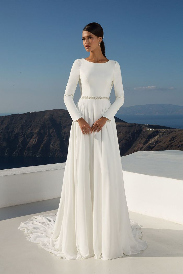 Justin Alexander Style 88027 Long Sleeve Crepe Gown with Cowl Back Detail
