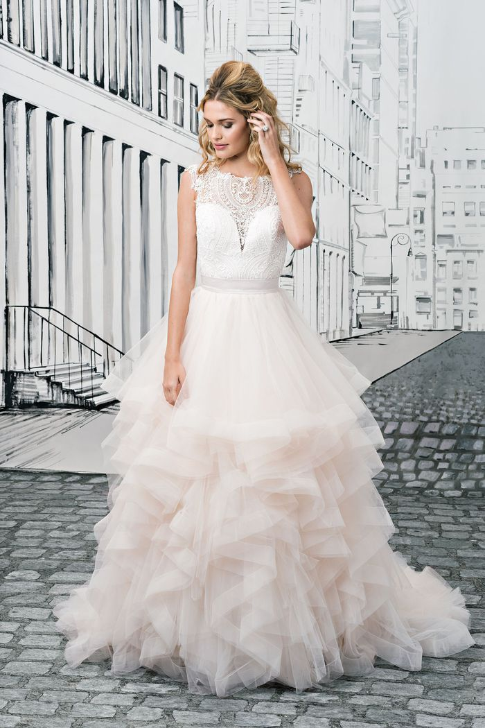 Justin Alexander Style 8888 Lace Beaded Bodice with Deep V-Neckline and Tiered Ruffled Skirt