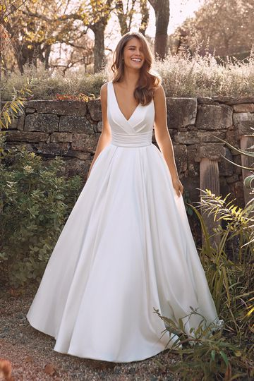 Justin Alexander Style 88136 Alina Mikado Ball Gown with Box Pleats and Cummerbund