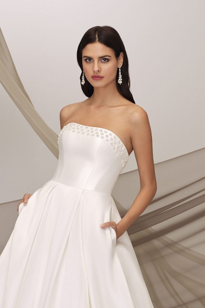 Justin Alexander Signature Style 99137 BRENT Clean Ball Gown with Pearl Beading and Box Pleats