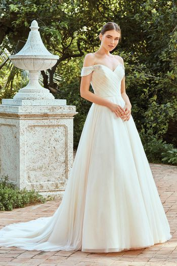 Sincerity Bridal Style 44214 Off The Shoulder Sparkle Tulle Ball Gown with Pleated Bodice
