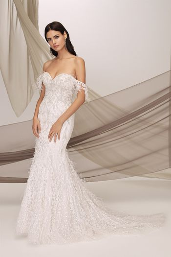 Justin Alexander Signature Style 99127 LENOX Off the Shoulder Beaded Gown Embellished with Marabou Feathers