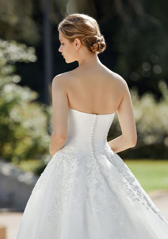 Sincerity style 44113 Strapless Satin and Organza Ball Gown with Lace Applique
