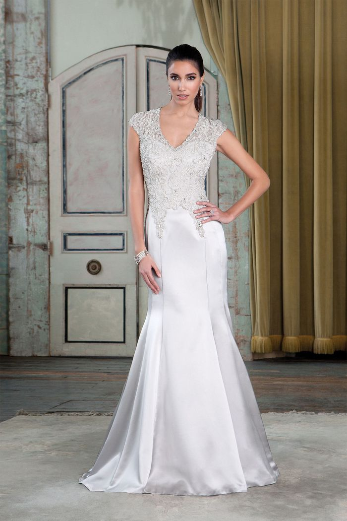 Justin Alexander Signature Style 9787 Beaded Charmeuse Fit and Flare Bridal Gown