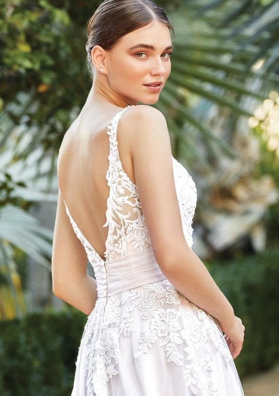 Sincerity Bridal Style 44208 Open Back Gown with Beaded Lace and Pleated Cummerbund