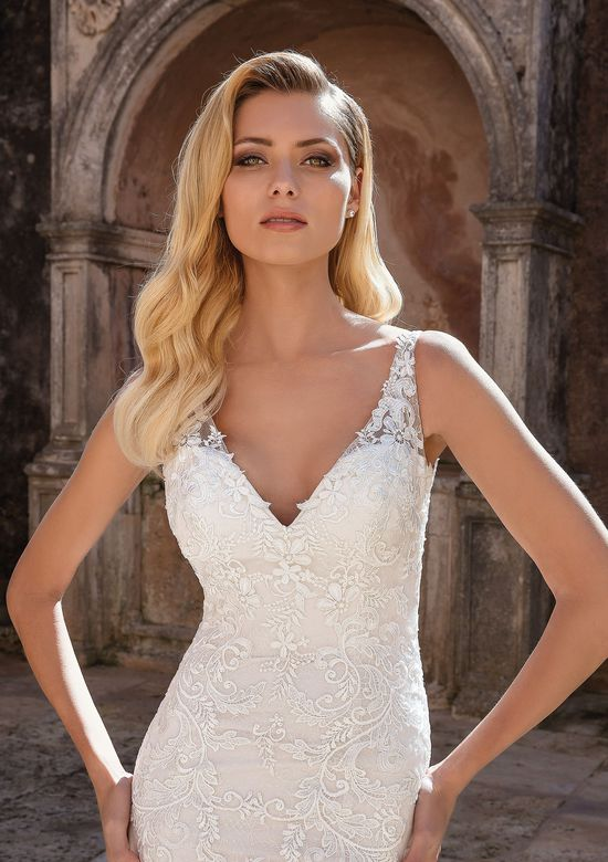 Justin Alexander style 88047 Allover Lace V-Neck Fit and Flare Gown
