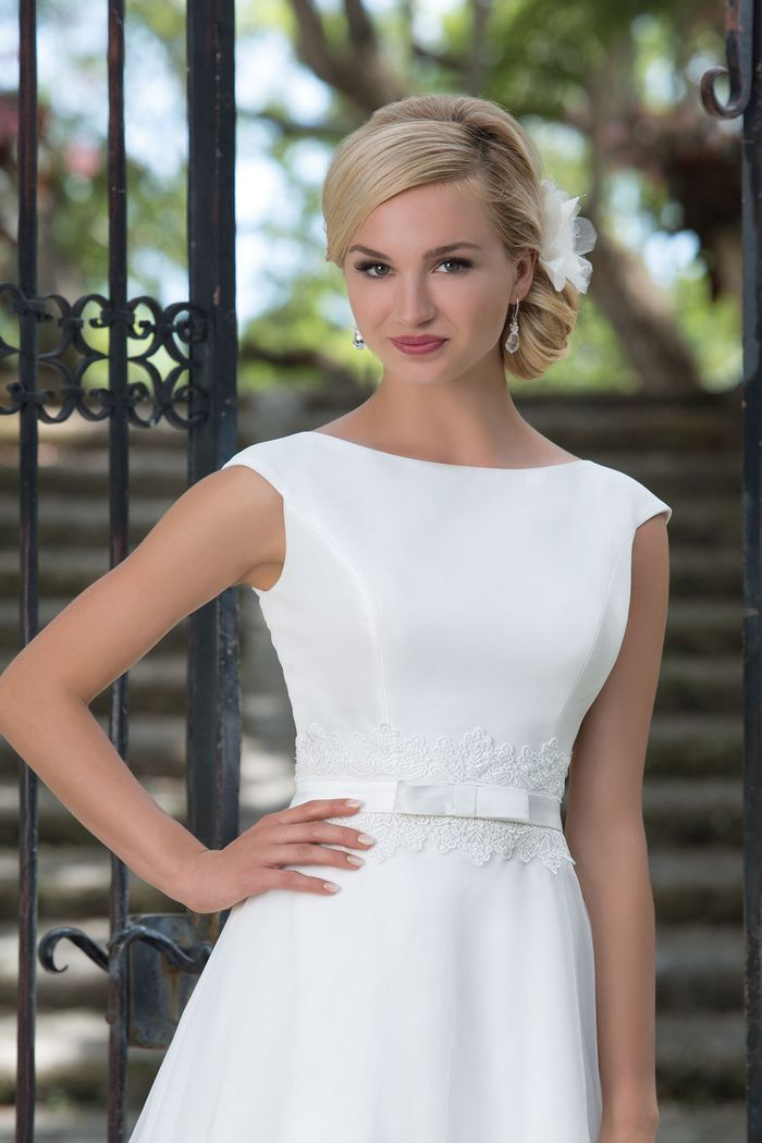 Sincerity Bridal Style 3897 Mikado; Lace; Organza A-line accented by a Sabrina neckline