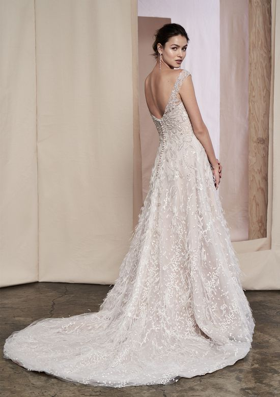 Justin Alexander Signature Style 99085 Hazel Feather Detail Organza Gown