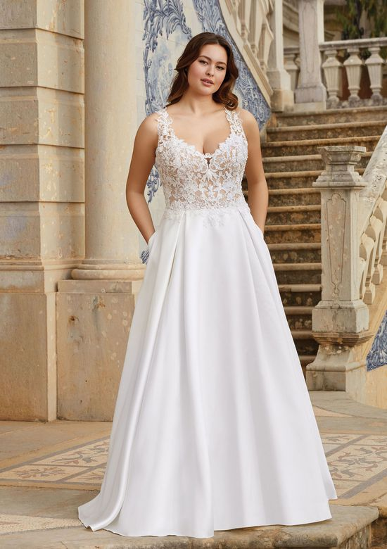 Sincerity Bridal Style 44170 Illusion Bodice with Exposed Boning Mikado Gown