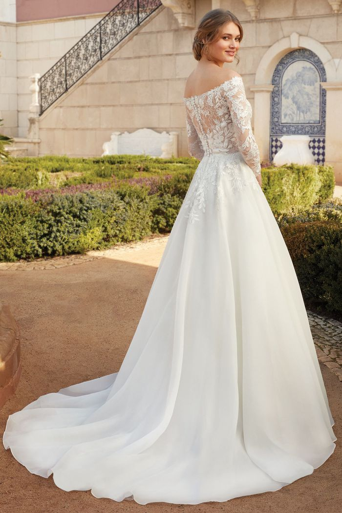 Sincerity Bridal Style 44238 Long Sleeve Off the Shoulder Organza Ball Gown with Beaded Lace