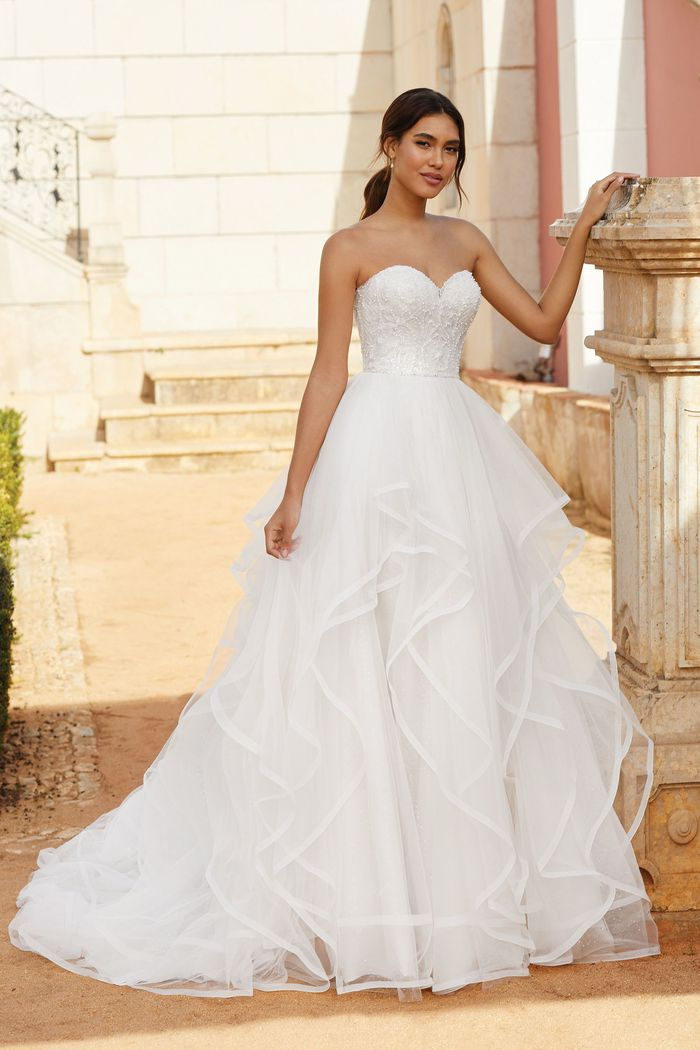 Sincerity Bridal Style 44244 Beaded Sweetheart Neckline Ball Gown with Ruffle Skirt