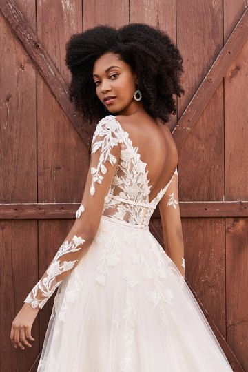Lillian West Style 66192 Long Sleeve A-Line Dress with Sequined Lace and Chiffon Appliqués