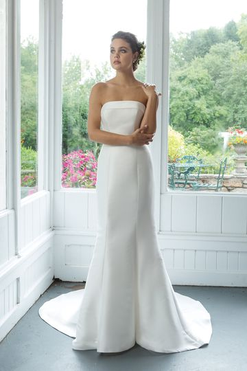 Sweetheart Gowns Style 11062 Mikado Strapless Fit and Flare Gown with Cuff Neckline