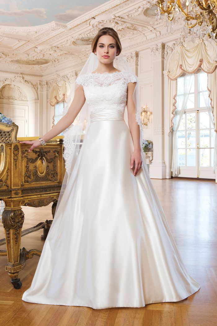 Lillian West Style 6344 Ball Gown with Cummerbund and Cap Sleeves