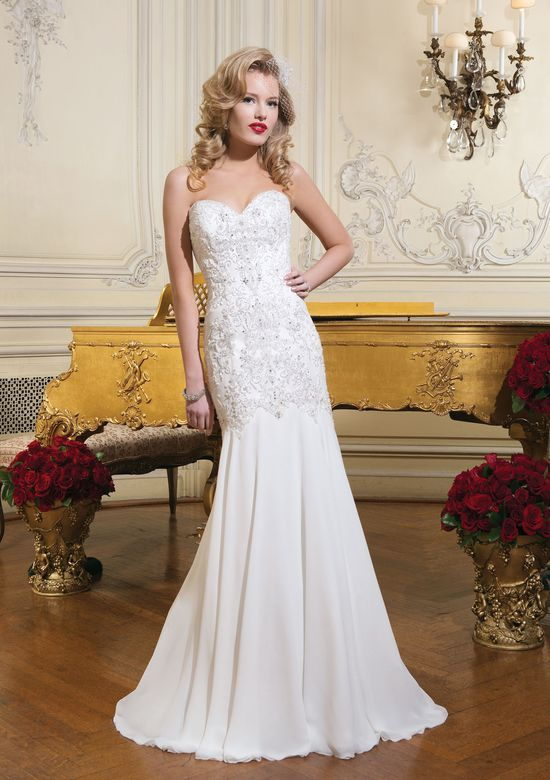 Justin Alexander Style 8731 Beaded Chiffon Fit and Flare Low Back Dress