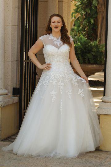 Sincerity Bridal Style 44050PS Allover Lace Sweetheart A-Line Plus Size Gown with Jacket