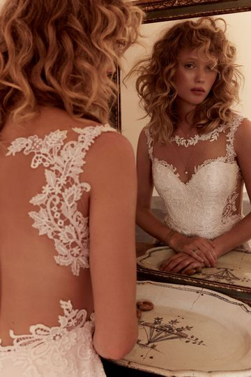 Lillian West Style 66022 Lace Bodice A-Line Gown with Sabrina Neckline