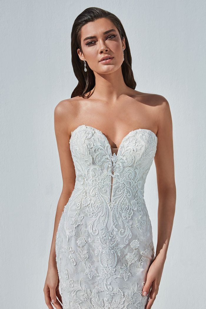 Justin Alexander Style 88194 Barrett Lace Mermaid Dress with Plunging Neckline and Glitter Tulle