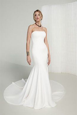 Justin Alexander Signature Style 99217 Michelle Clean Double Crepe Fit and Flare Dress with Straight Neckline