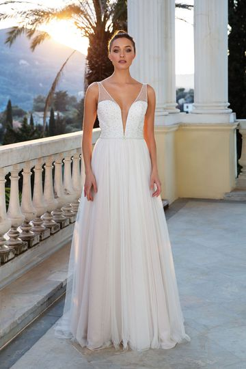 Justin Alexander Style 88118 Illusion Beaded Bodice A-Line English Net Gown